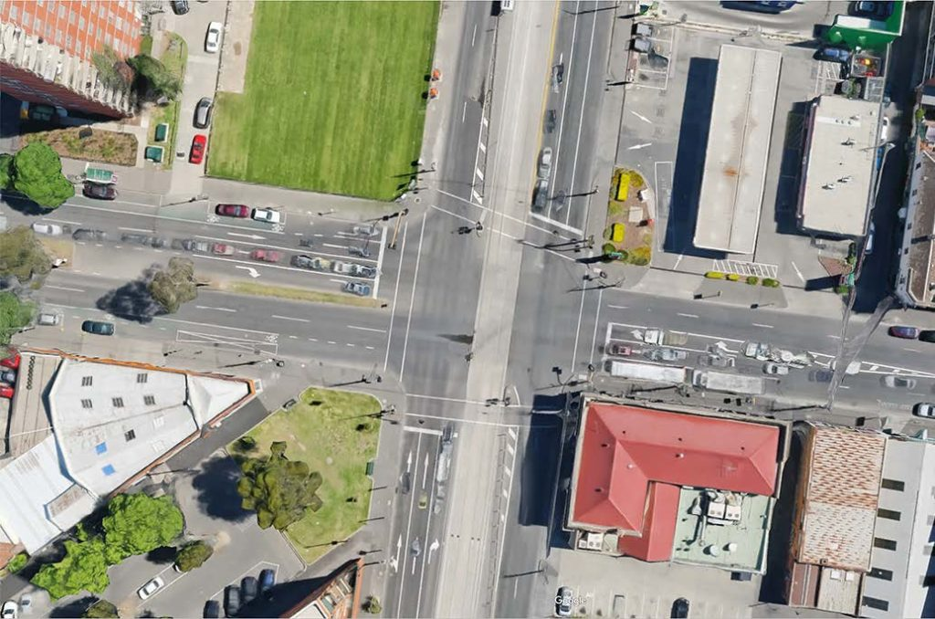 Nicholson Street - Johnston/Elgin Street intersection in Melbourne